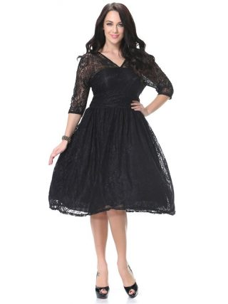 Women Spring Autumn Dress V Neck Half Sleeve Black Lace Dress Big Size 7XL Ball Gown Elegant Evening Club Party Dress