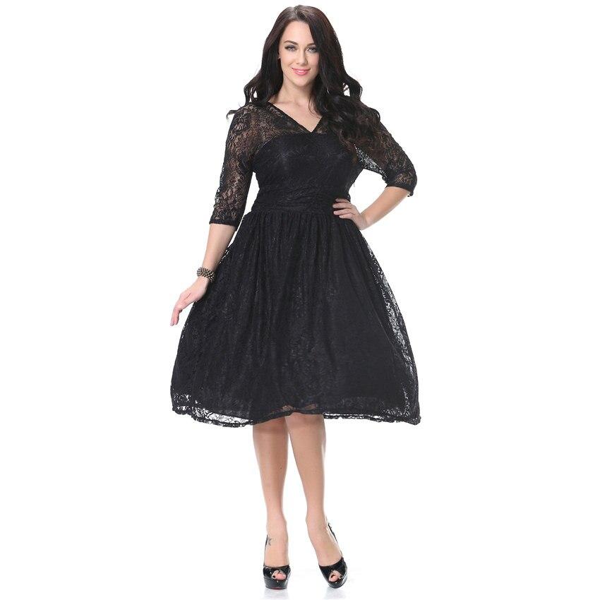 Women Spring Autumn Dress V Neck Half Sleeve Black Lace Dress Big Size 7XL Ball Gown Elegant Evening Club Party Dress