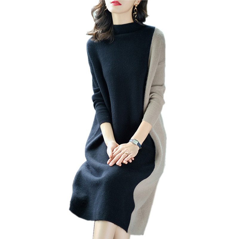 Europe Women 19 Autumn Winter Stitching Fashion Long Sleeve Dress Female Half Turtleneck Knee-Length Knitted Dress A1139 3