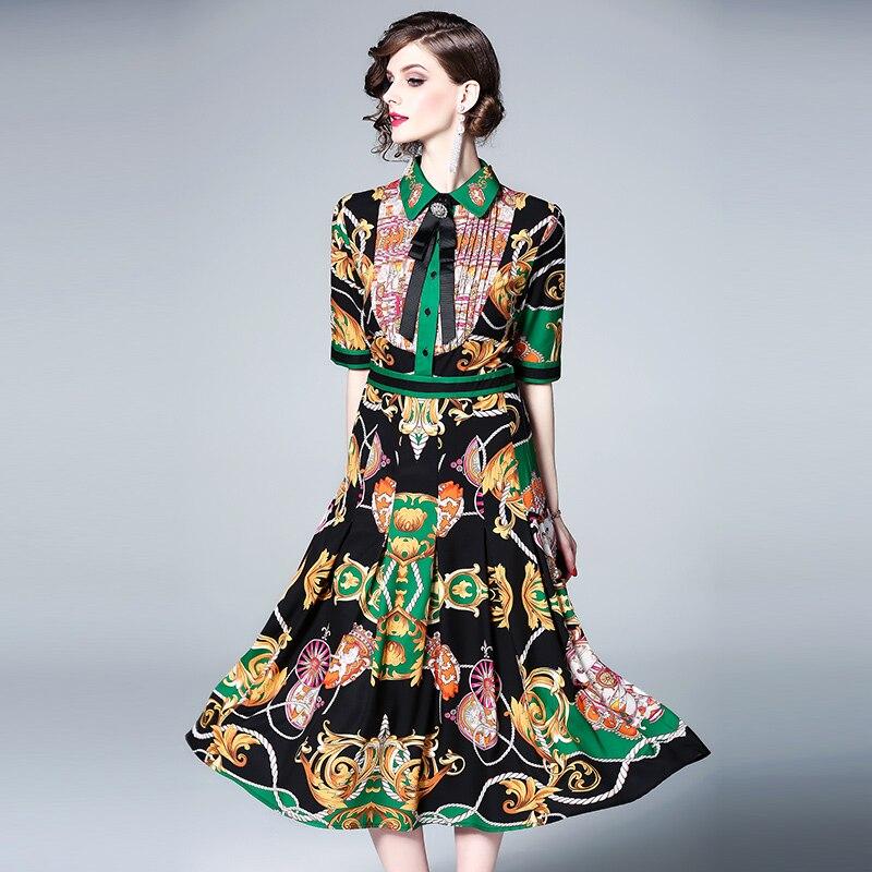 New 19 Runway Print Flowers Party Dress Summer Women Diamonds Bow Half Sleeve Vintage Dress Elegant Turn Down Collar Dress 1