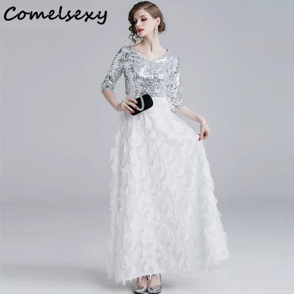 Summer Half Sleeve V-neck Patchwork Tassels Feather Long Dress Elegant Sliver Sequin Women Evening Party Dress Ladies Vestidos