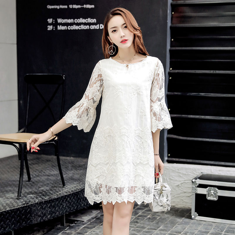 Summer Women Elegant Lace Dresses Casual Half Butterfly Sleeve O-neck Loos Fashionable Big Size A-Line Dress Female Vestidos 2