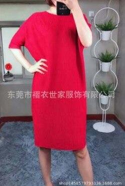 HOT SELLING Miyake Fashion fold o-neck half sleeve Embossed loose batwing sleeve dress IN STOCK 2