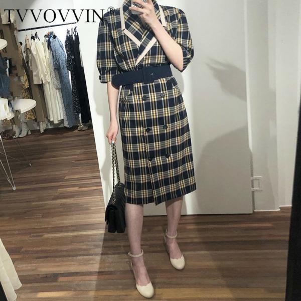 TVVOVVIN 19 Turn-down Collar Half Sleeve Korean Fashion Slim Waist With Belt Patchwork Color Women Korean Dress Tide X139