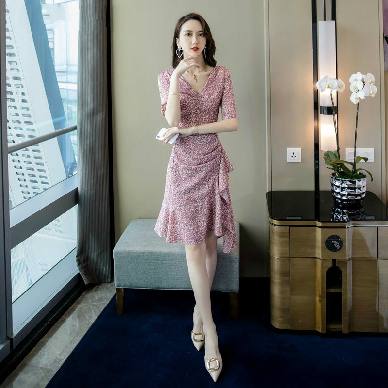 Summer 19 Half Sleeve Sheath Ruffles Ladies Dresses Pink Vestido Mujer Sexy Dress Women Plus Size Print Leopard Women Dress 2