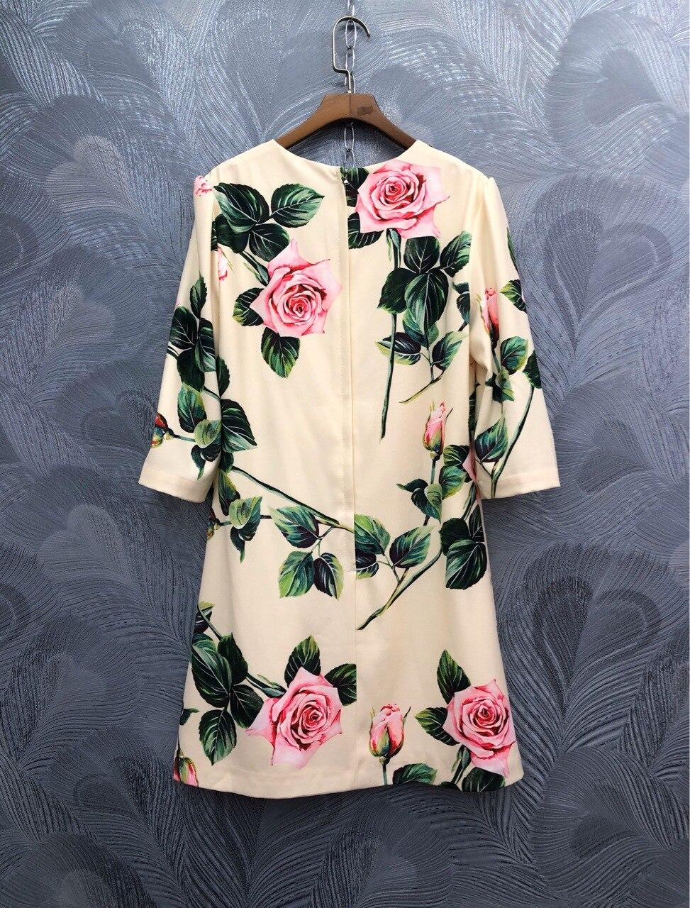 Spring summer runways floral print half sleeve sweet dress Fashion women's elegant dress B229 2