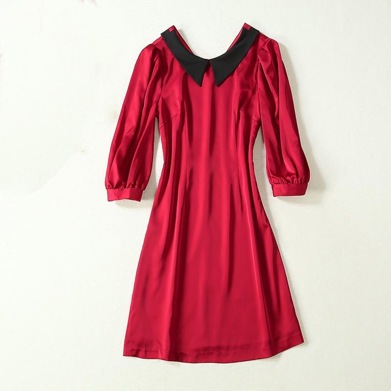 HIGH QUALITY Newest 19 Runway Dress Women's Half Sleeve Peter Pan Collar Button Dress 2