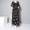 Tide Fashion Summer Pattern Printed Dress Sashes Casual Long Loose Size Shirt Dress Fashion Tide V-Neck Half Sleeve Dress