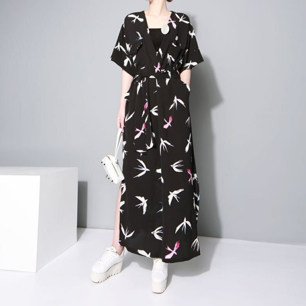 Tide Fashion Summer Pattern Printed Dress Sashes Casual Long Loose Size Shirt Dress Fashion Tide V-Neck Half Sleeve Dress