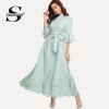 Sheinside Scalloped Hollow Out Half Sleeve Dress 19 Summer Elegant Flounce Sleeve Solid Maxi Dresses High Waist A Line Dress