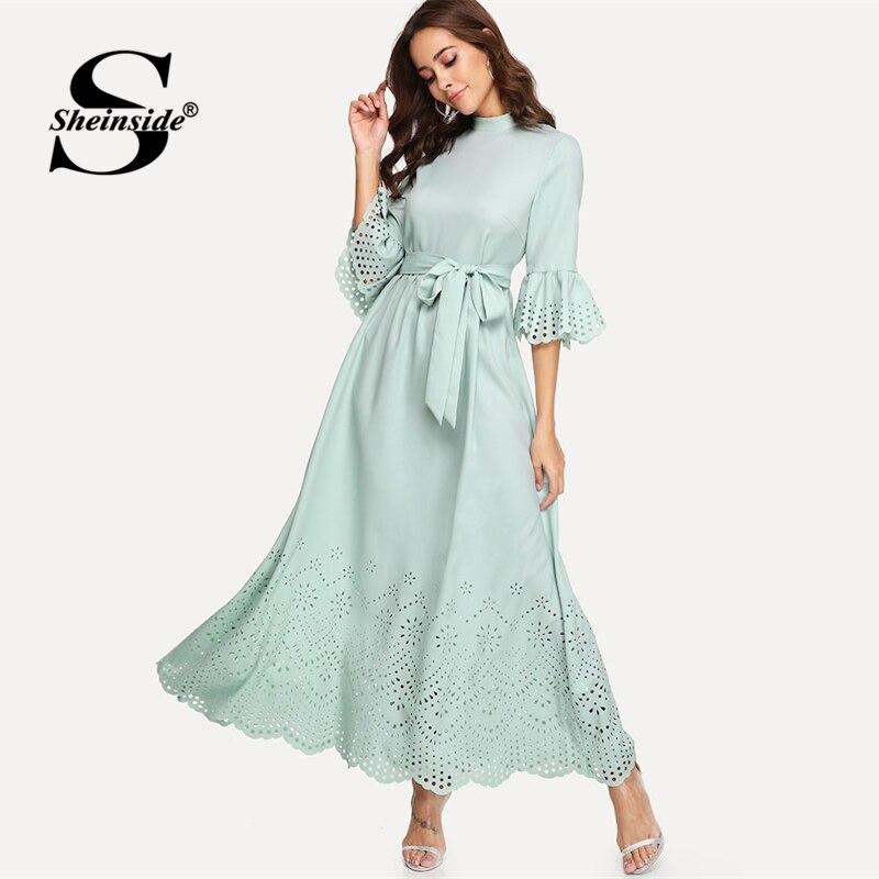 Sheinside Scalloped Hollow Out Half Sleeve Dress 19 Summer Elegant Flounce Sleeve Solid Maxi Dresses High Waist A Line Dress