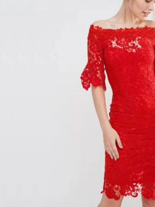18 New Fashion Half Sleeve Lace Dress Summer Elegant Slash Neck Bodycon Sexy Red Women Party Bandage Dresses Vestido Wholesale
