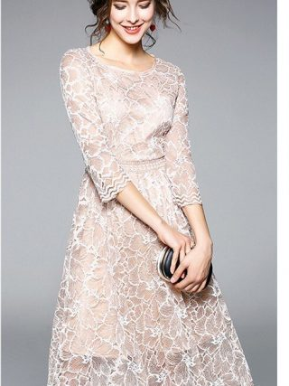 19 New Arrival Spring Women Party Dress O-Neck Round Neck A-Line Lace Dress Half Sleeve Knee Length Casual Dress