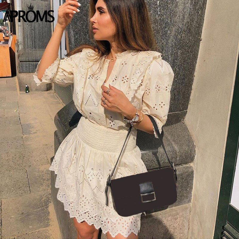 Aproms Elegant Solid Color High Waist Women Summer Dress Lace Hollow Out Mini Dress Sexy V-neck Half Sleeve Streetwear Dresses 2