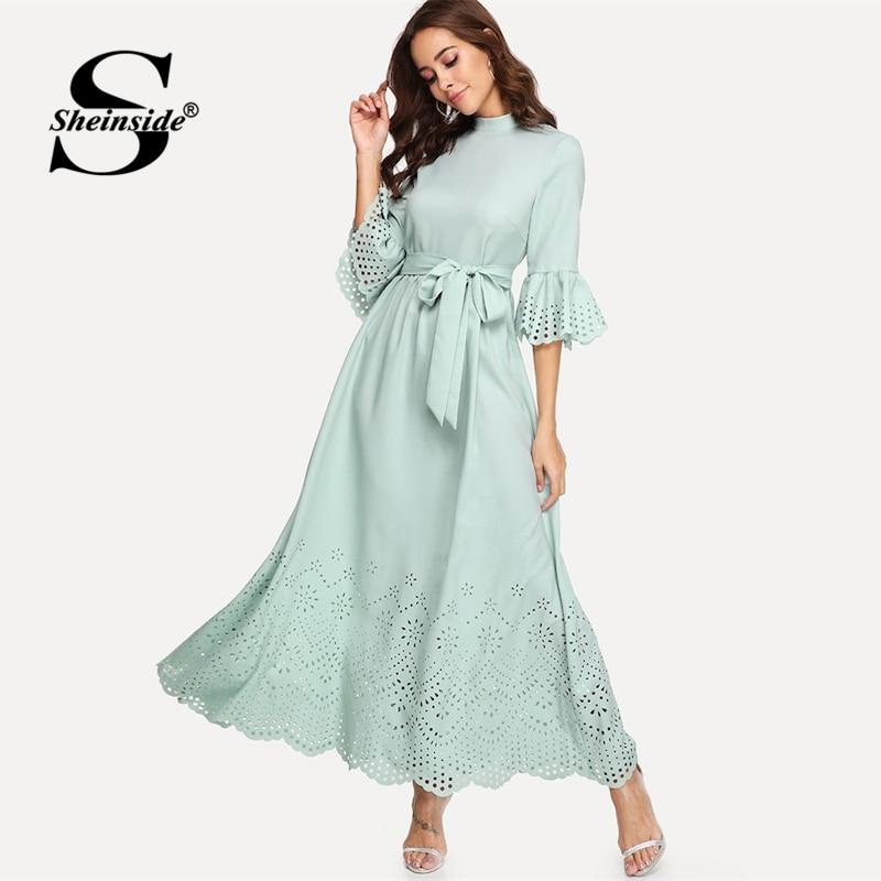 Sheinside Scalloped Hollow Out Half Sleeve Dress 19 Summer Elegant Flounce Sleeve Solid Maxi Dresses High Waist A Line Dress 1