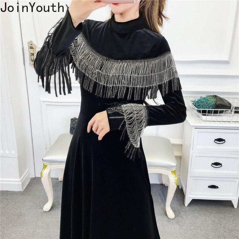 Joinyouth Tassel Half Turtleneck Mid-Calf Vestidos Women Velour High Waist Long Sleeve Dress Solid Slim Party Dresses 56787 1