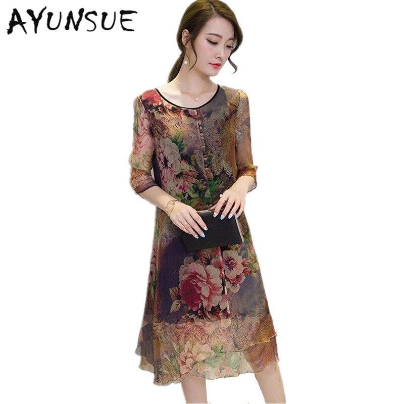 19 Half Sleeve Vestido Vintage Dress Plus size 4XL Medium Long Floral Silk Dress Women Clothing Thin Summer Dresses FYY342 1