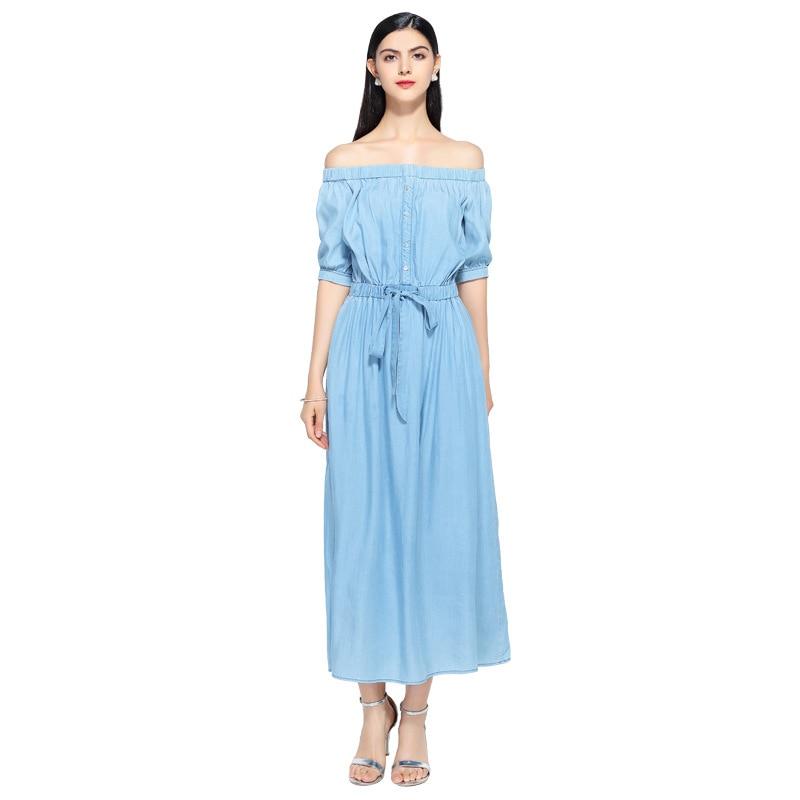 19 new summer casual slim dress women elegant slash neck half sleeve denim dresses vestidos de verano women clothes 19 1