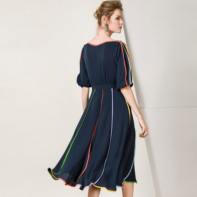 19 New Women Midi Dress O-Neck Half Sleeve A-line Dress Elegant Chiffon Dress Vestidos Femme Vintage Dress Fashion Streetwear 2