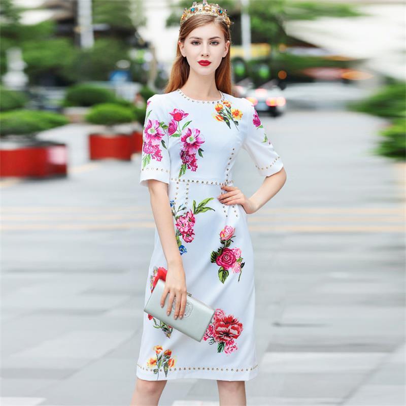 Women Dresses 18 High Quality Summer Runway O-Neck Half Sleeve Printed Beading Lady Dress NPD0776N