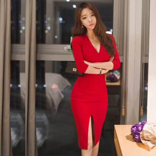 Midi Women Dress Bandage Office Party Sexy Bodycon Black Red Vintage Dress Vestidos Plus Size Half sleeve V-Neck Dresses