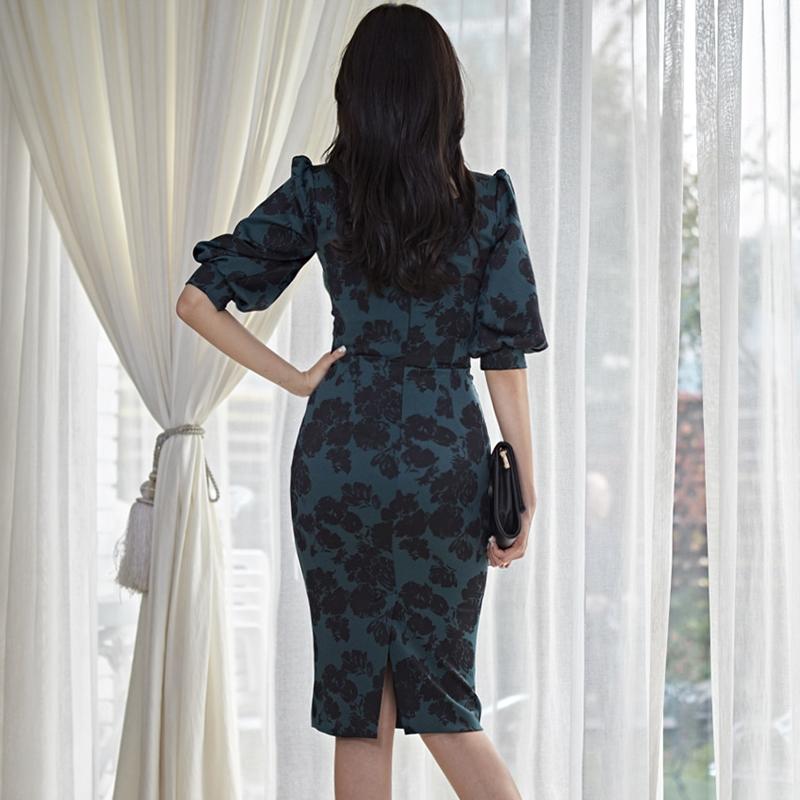 Spring  Korean Fashion Slim Leaf Print Square Collar High Waist Midi Dress Elegant Half sleeve Dress Women Party Vestidos 2