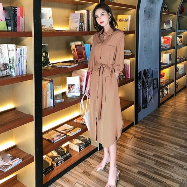 19 Fall Women Half Sleeve Shirts Dresses Solid Turn-Down Collar Midi Dress Casual Pocket With Belt Loose Dress