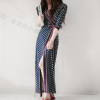 Free shipping ladies women half sleeve folk beach vacation sexy slim split long dress