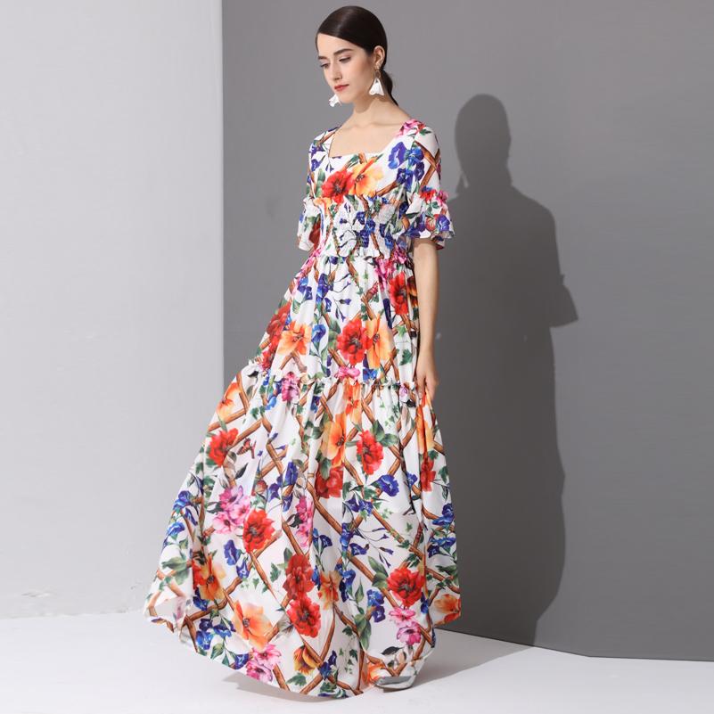 High Quality Fashion Designer runway Maxi Dresses Women's Half Sleeve Holiday amazing Floral Print Long Dress 3XL Plus Size 3