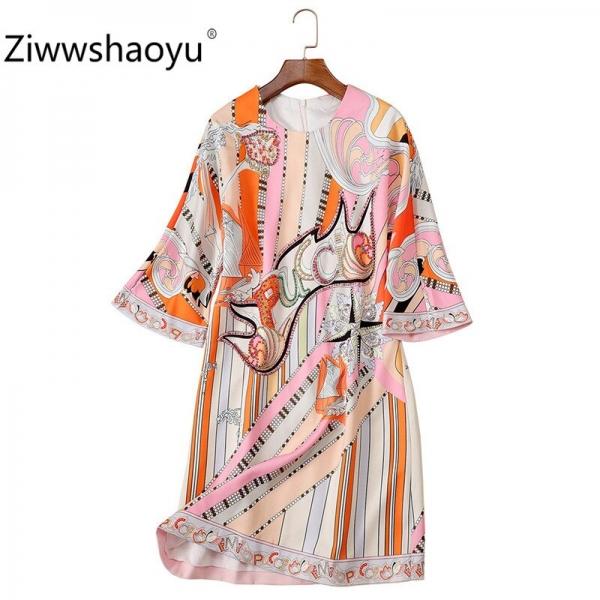 Ziwwshaoyu 19 New Autumn Geometric Print Loose Dress Women's Fashion Half Sleeve Crystal Beading luxury Dresses