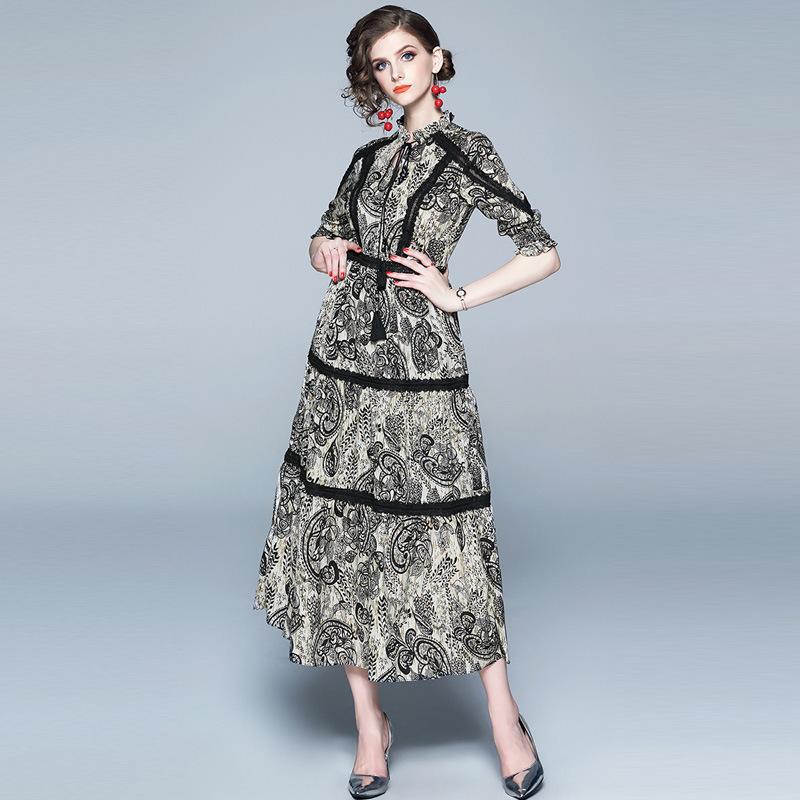 Vintage Print Lace Patchwork Chiffon Long Dress Women 19 Summer Lace-up O Neck Half Sleeve Ladies Dresses Casual Vestidos 2
