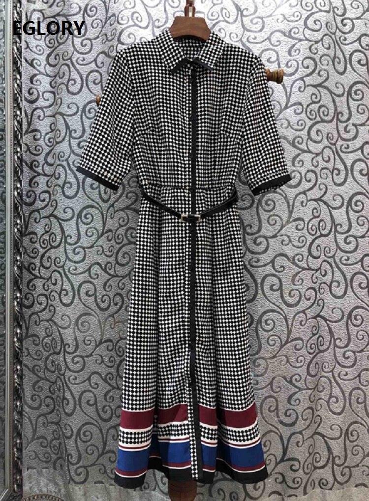 Newest Fashion Spring Dress  Style Women Turn-down Collar Polka Dot Print Striped Color Block Half Sleeve Mid-Calf Dress