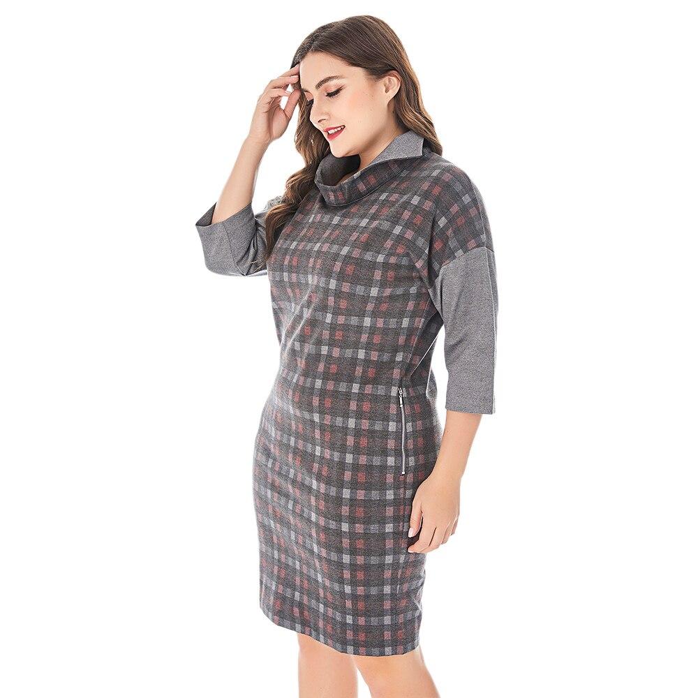 Spring Women Plus Size Spliced Plaid Dress Stand Collar Half Sleeve Elegant Straight Dresses Women Autumn Workwear Midi Dress
