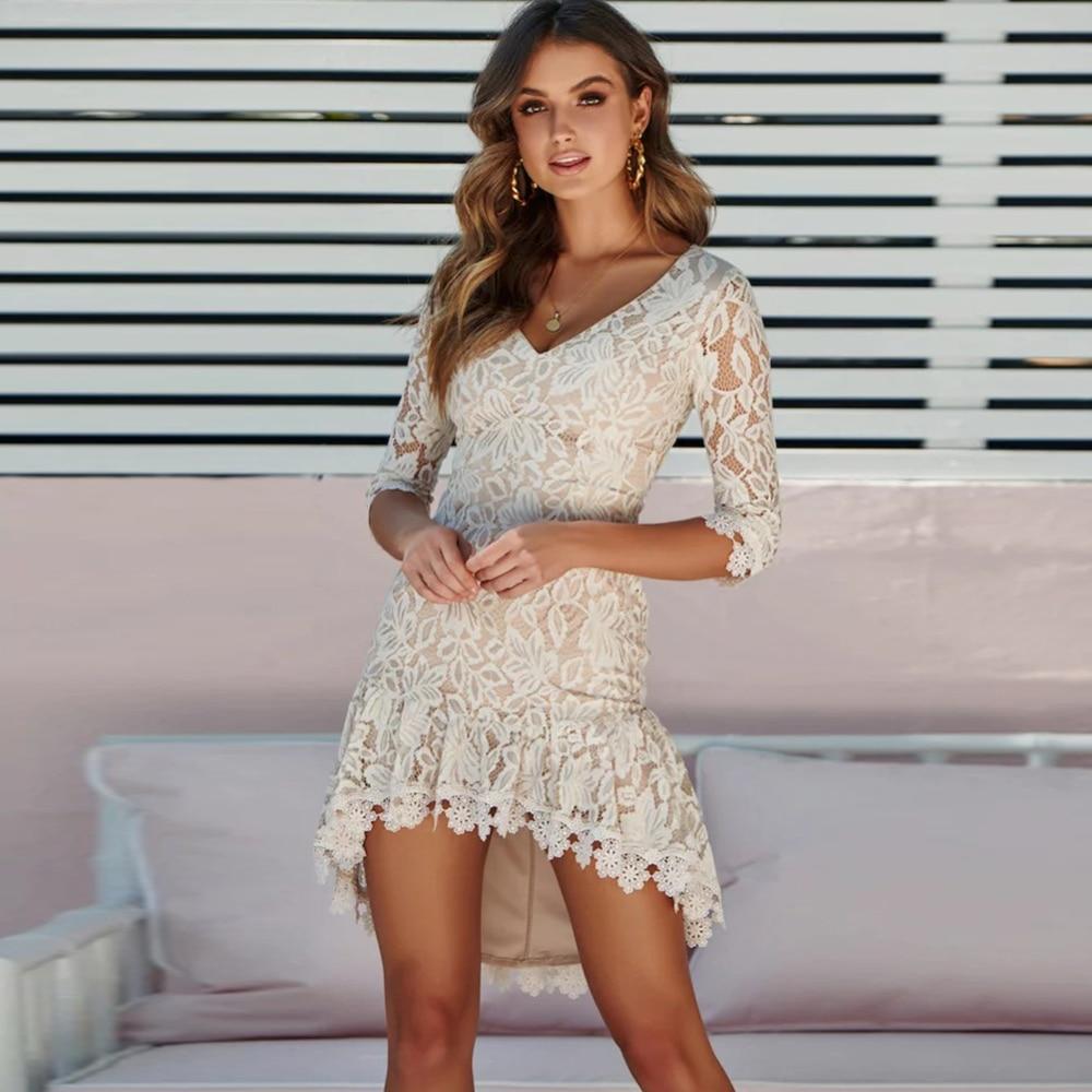 Dower Me Elegant Black Lace Dress Half Sleeve Autumn Plus Size Women's Dress Sheath Bodycon Wedding Party Sexy White Wrap Dress 1