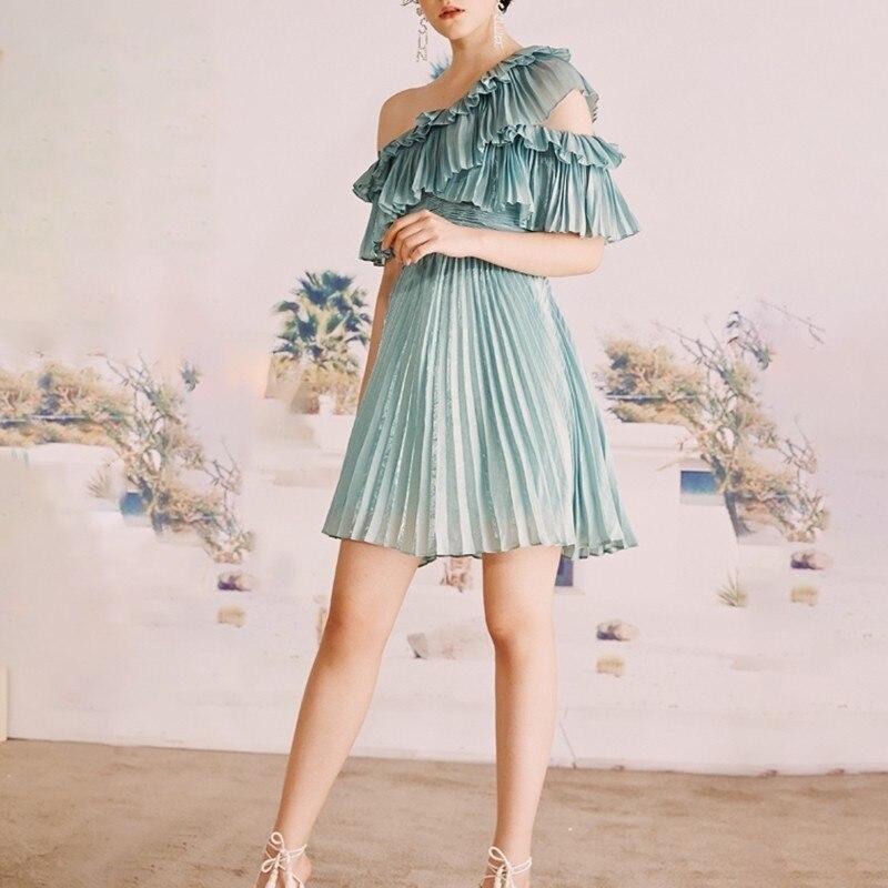 CHICEVER Blue Casual Solid Ruffles Women Dress Off Shoulder Half Sleeve High Waist Mini Pleated Dresses Female Fashion 19 New 2