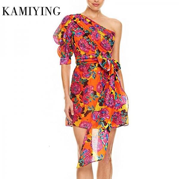 KAMIYING Sexy Print Puff Sleeve Dresses For Female Asymmetrical Collar Half Sleeve High Waist Lace Up mini Dress Women