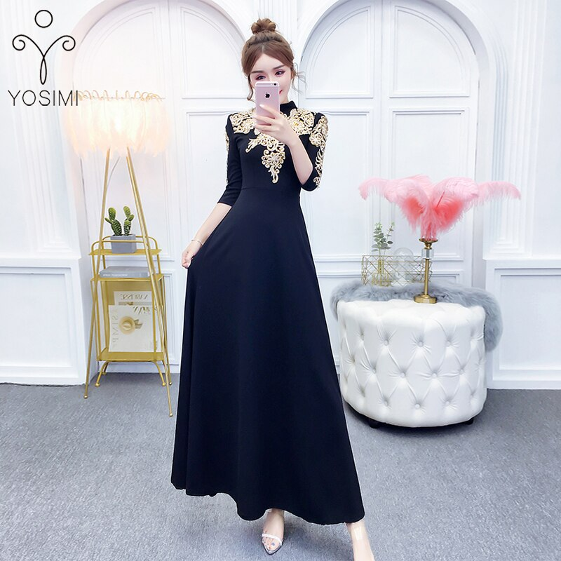 YOSIMI 19 Summer Maxi Evening Party Dress Half Sleeve Gold Line Embroidery Elegant A-line Long Slim Women Dresses Ankle-Length