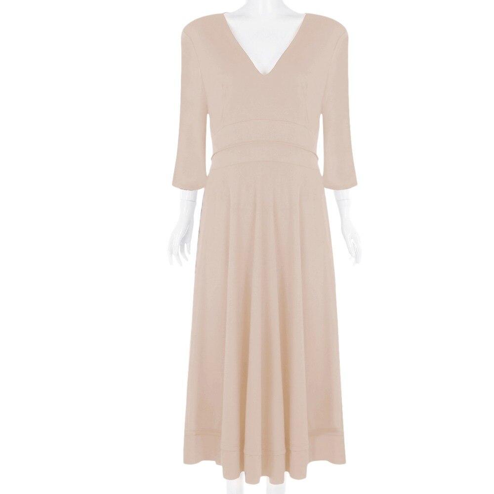 19 Elegant Evening Party Gown Dress for Women Sexy V Neck Half Sleeves High Waist Pocket Dress Pleated Swing Midi Dress Women 2