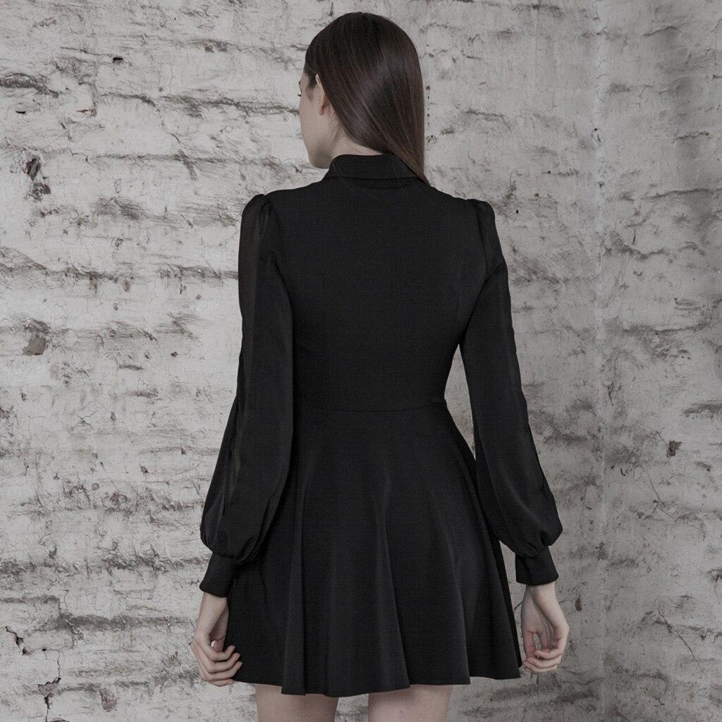 PUNK RAVE Women College Cut-out Sexy Dress Comfortable Chiffon Slim Fit High Waist Long Sleeve Half Dress 3