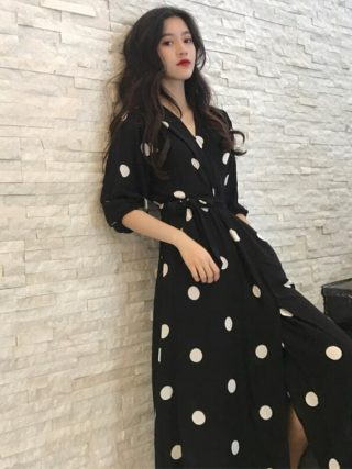 Fashion V-neck Ladies Long Dress Casual Half Sleeve Dot Dress Female New Dresses SuperAen Summer Women's Dress Korean Style
