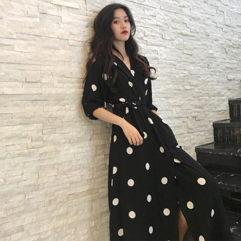 Fashion V-neck Ladies Long Dress Casual Half Sleeve Dot Dress Female New Dresses SuperAen Summer Women's Dress Korean Style