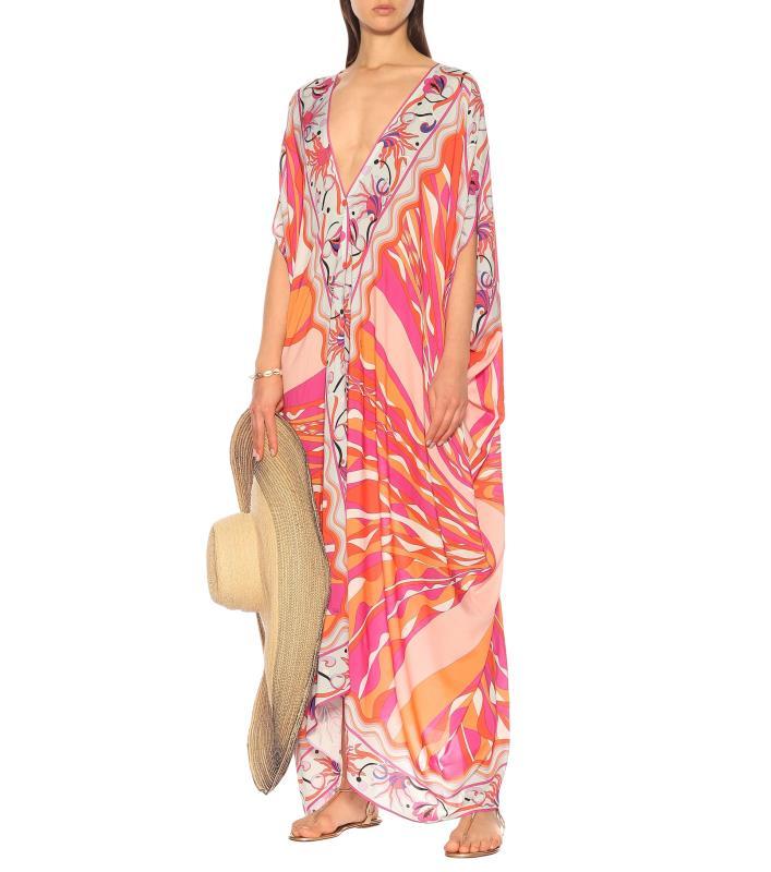 New V-neck printed fashion half sleeve elastic knitting loose casual dress 3