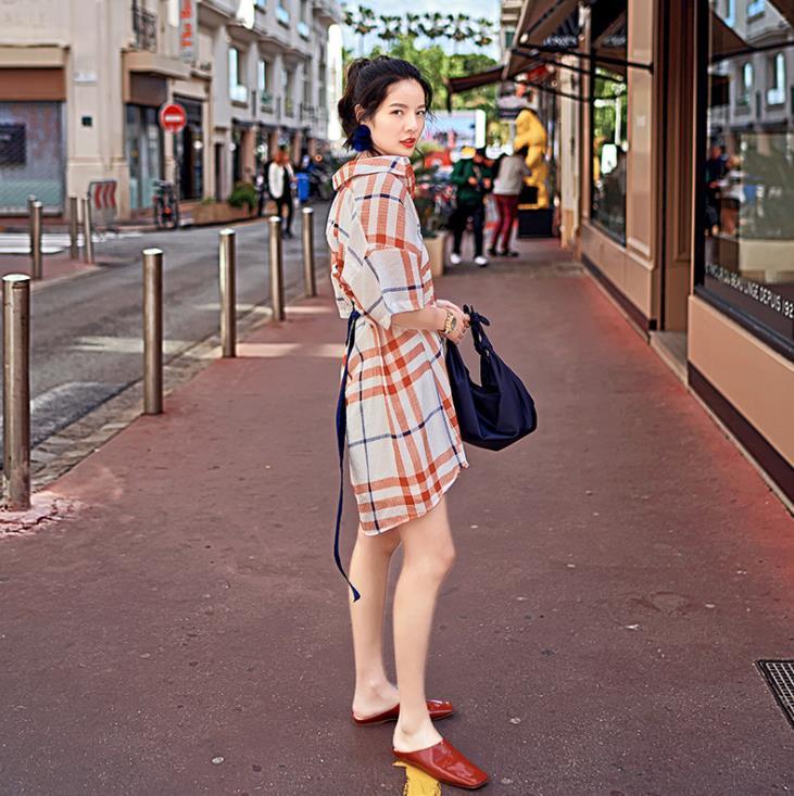 Summer Designer Polo Shirt Dress Half Sleeve Plaid Short Dress Vintage Casual Sundress Vestidos 3
