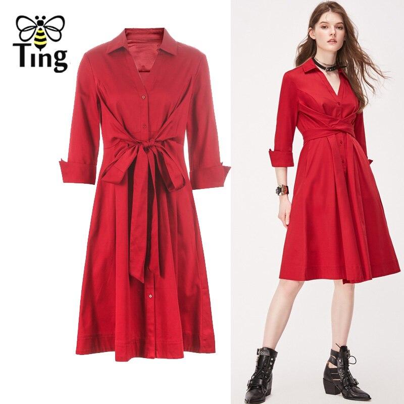 Tingfly Casual Summer Women Knee Length Shirt Dress Vintage Half Sleeve Elegant Office Work Dresses Streetwear Vestidos Plus 1
