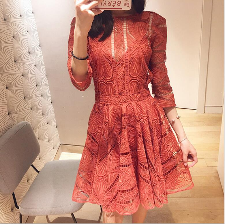 Women's Dresses Embroidery Lace Hook Flower Back Hollow Out Chic O Neck Half Sleeve Elegant Dress 1