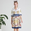 V-neck Canary Sword Printed Half Sleeve A-Line Midi Dress AELESEEN Vintage Knee-Length Dresses Women Summer 19 Casual Wearing V-neck Canary Sword Printed Half Sleeve A-Line Midi Dress
