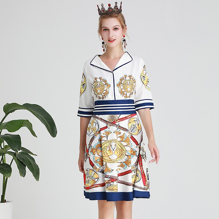 AELESEEN Vintage Knee-Length Dresses Women Summer 19 Casual Wearing V-neck Canary Sword Printed Half Sleeve A-Line Midi Dress 2