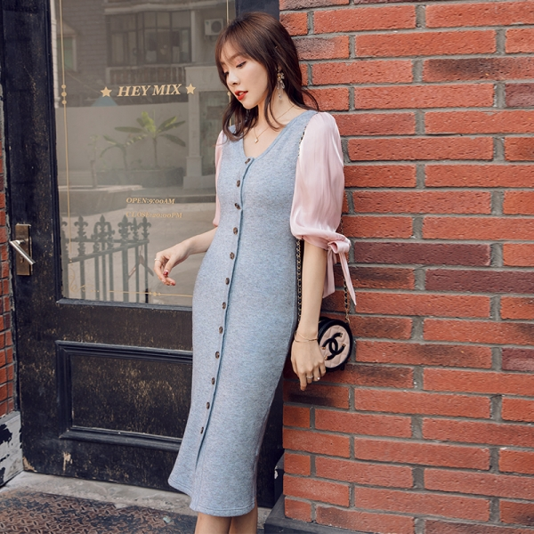 YIGELILA Autumn Patchwok Half Sleeves Dress V-neck Single-breasted Long Dress Lantern Sleeves Mid Calf Sheath Dress 65317