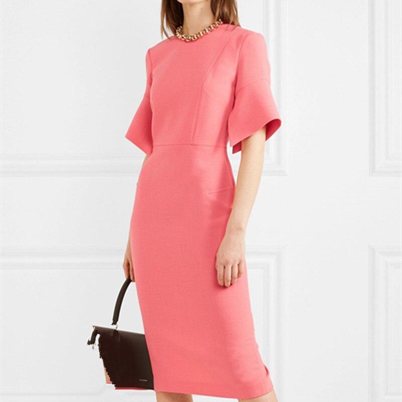 Elegant Work Women Pencil Dress Solid Pink Slim Half Sleeve Dresses Back Zipper Office Lady High Waist Long Mid Dress 1
