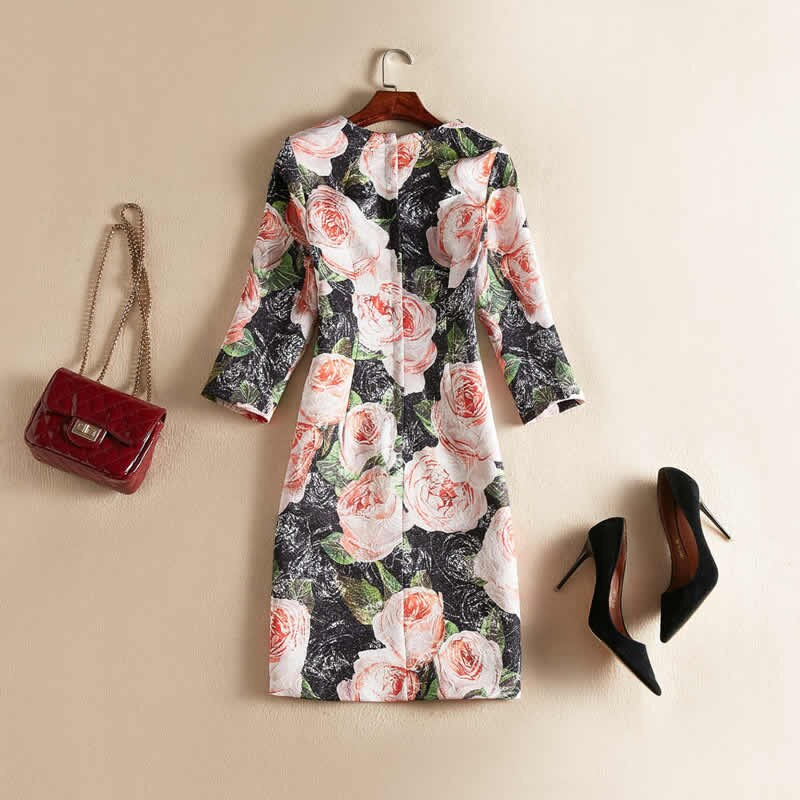 Vintage Black Flower Jacquard Dress Fashion O-Neck Half Sleeve Casual Dresses J0622 2
